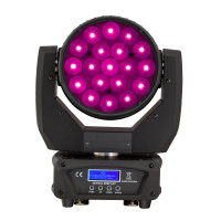Beam & Wash LED Moving Head 19-12W RGBW 4in1 with Zoom Soundsation MHL-19-12W-RGBW